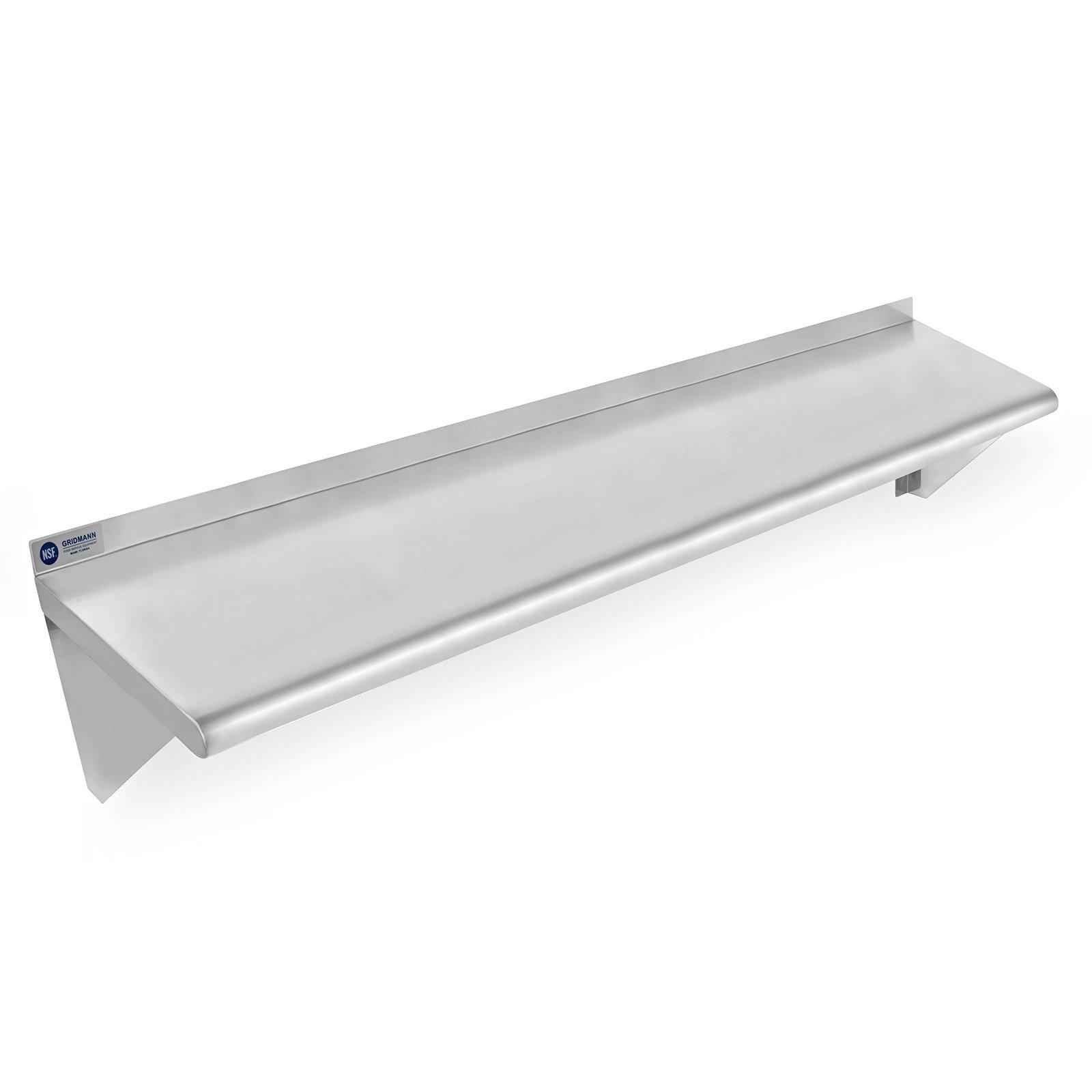 Gridmann NSF Stainless Steel Kitchen Wall Mount Shelf Commercial Restaurant Bar w/ Backsplash - 12'' x 48''