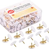 Yalis Thumb Tacks 400-count, Colors Plastic Roundness Push Pins Decorative Tacks for Corkboard (White)
