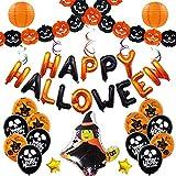 Happy Halloween Decoration Party Theme Kit -Balloon Pumpkin Garland Banner Witch Lantern
