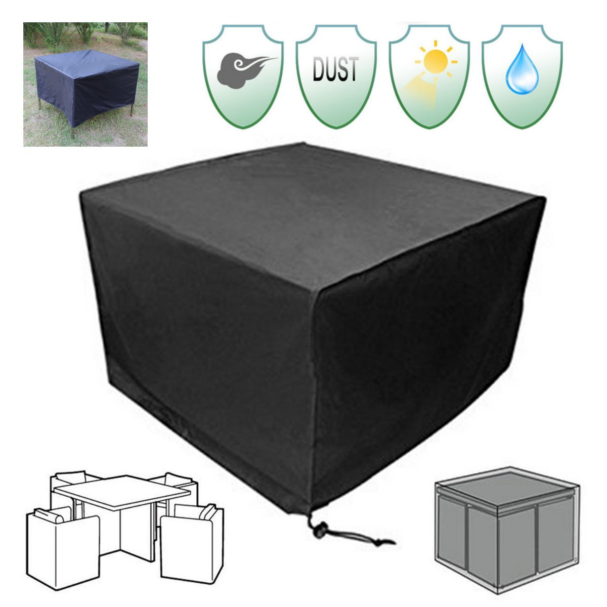 45''x45''x29'' Black Outdoor Garden Yard Patio Waterproof Cube Table Furniture Cover  Furniture Outdoor Outside Cover Protection Canopy Awning Cloth Shade Sun Patio Garden Table Chair