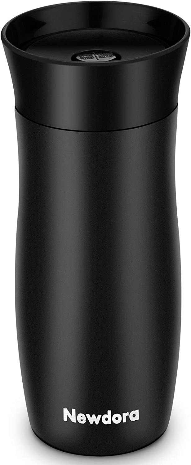 Newdora 13oz Stainless Steel Coffee Travel Mug Vacuum Insulated Tea Flask, Thermo Mugs Double Wall Leak Proof Thermal Cup One Handed Open to Drink, Work for Hot & Cold Beverage(Black)