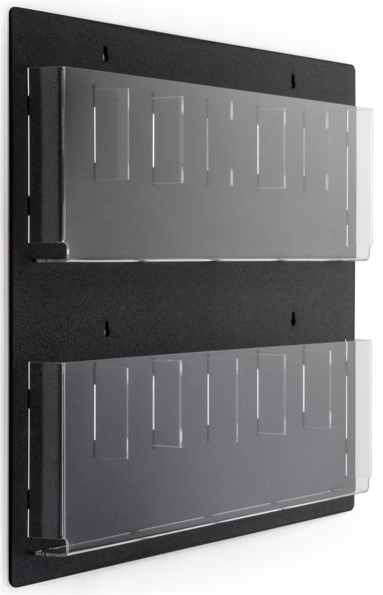 Displays2go Wall Mounted Literature Rack, 12 Pockets for 4x9 '' Pamphlets, Optional Dividers (RP6BLK)