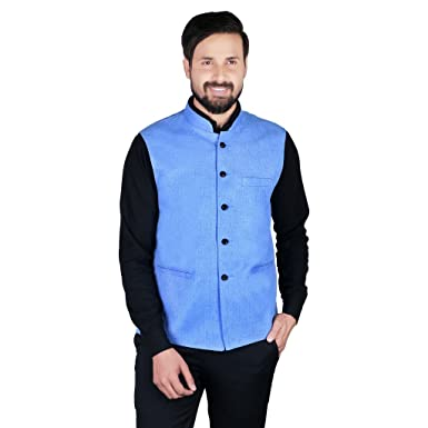 c132f9116ed Image Unavailable. Image not available for. Colour: Gadgets Appliances Light  Blue Colour Linen MaterialSleeveless Nehru Jacket ...