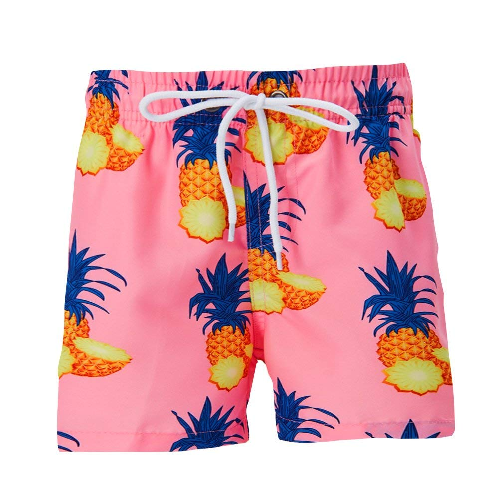 Boys Shark Print Summer Beach Swim Pool Shorts Trunks with Mesh Liner Red 6 to 7