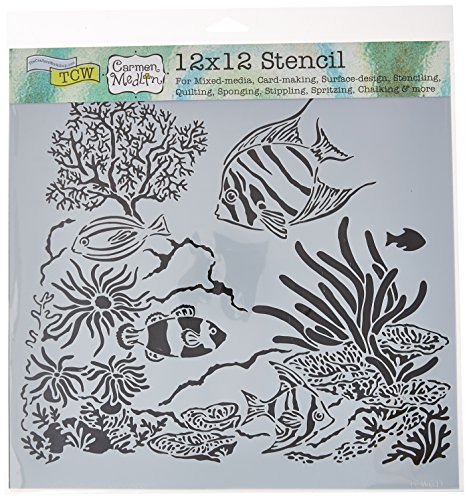 CRAFTERS WORKSHOP TCW611 Template, 12'' x 12'', Aquarium, White by CRAFTERS WORKSHOP