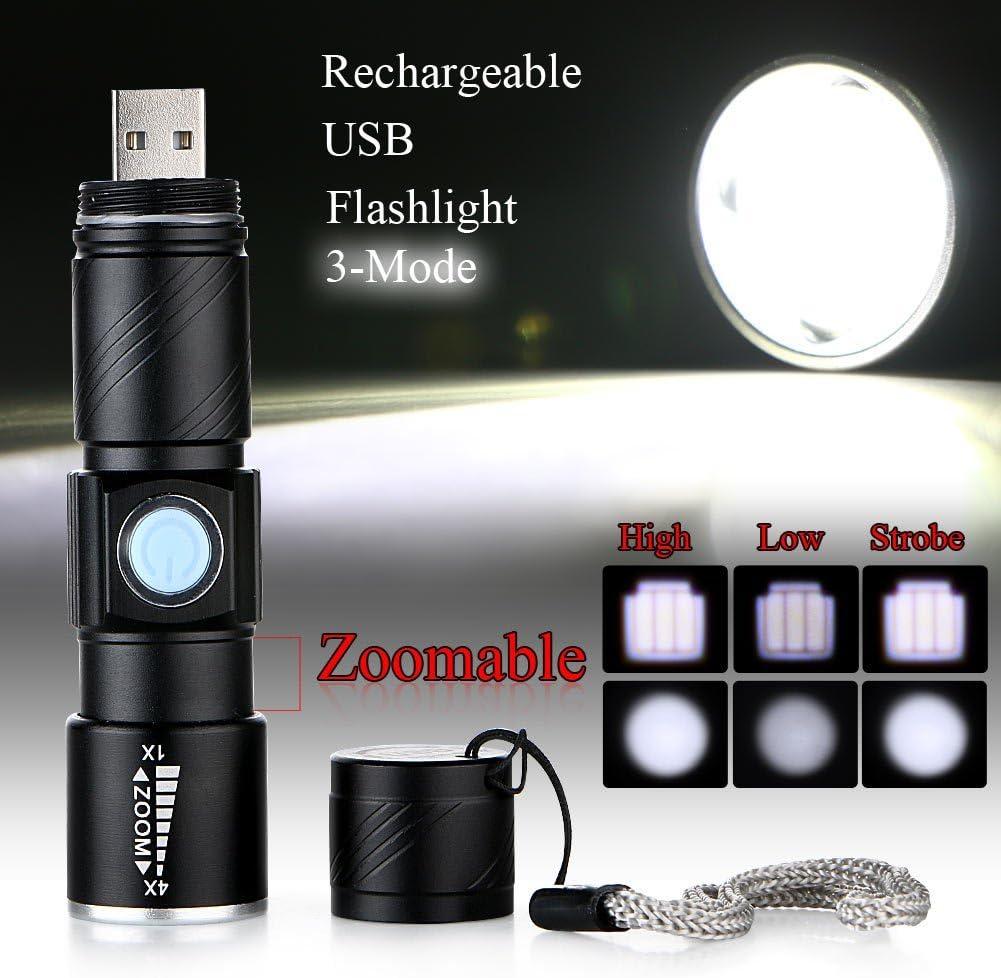 mini linterna t/áctica de mano para acampar senderismo BESTSUN Super Brillante Linterna LED Zoomable y enfoque linterna antorcha ajustable con dise/ño impermeable