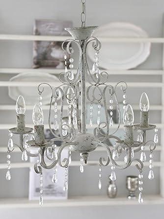 Great Kronleuchter SHABBY CHIC 5 Armig Antik WEISS Metall Lüster Deckenleuchte  Deckenlampe Hängelampe Vintage Design Ideas