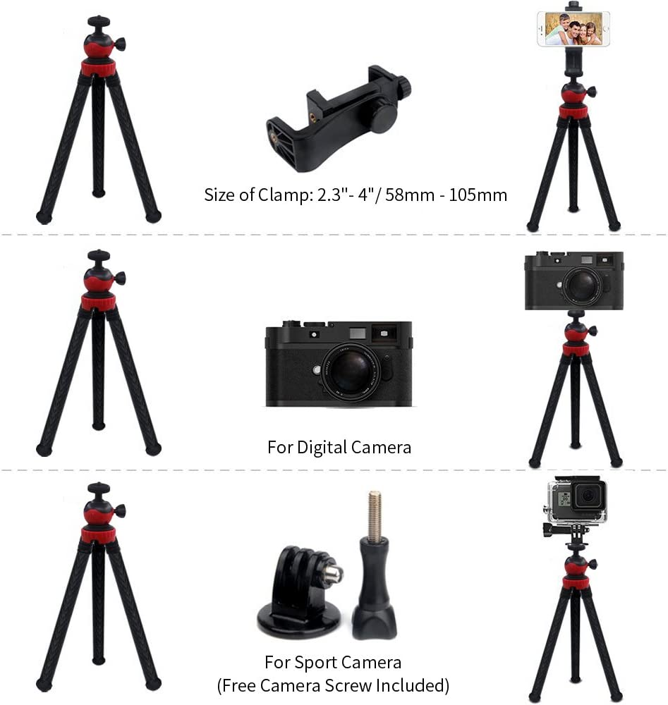 4 in 1 Camera Phone Tripod with Cell Phone Mount Clamp AFUNTA Flexible 12 Inch Stand Holder Compatible DSLR Cam Action Cam Android Smartphone