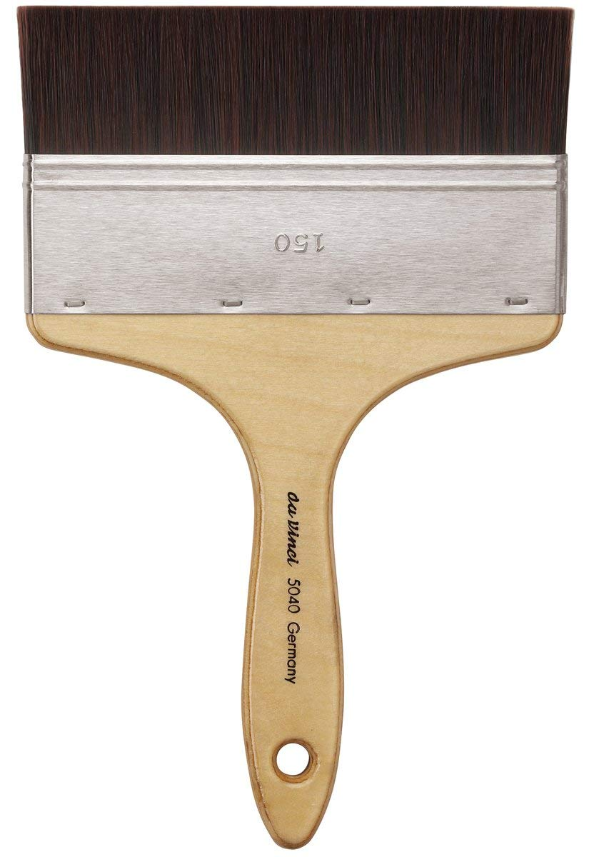da Vinci Oil & Acrylic Series 5040 Top Acryl Paint Brush, Flat Mottler Red/Brown Synthetic with Plainwood Handle, Size 150