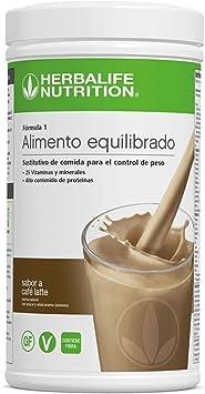 Batido Fórmula 1 Herbalife sustitutivo de comidas bajo en calorías. Rico en proteínas, vitaminas y minerales. Efecto saciante. Sabor Cafe Latte 550 g
