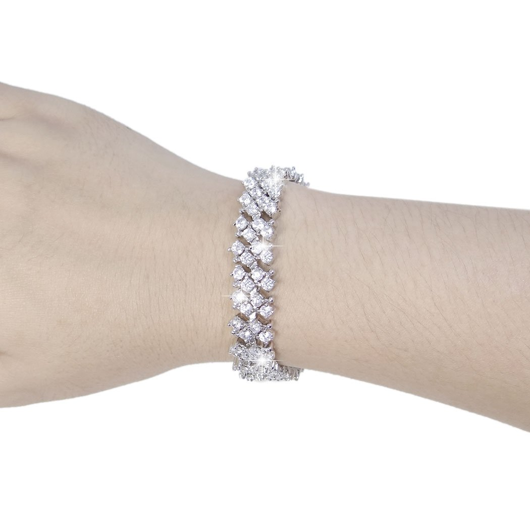 1930s Jewelry | Art Deco Style Jewelry EVER FAITH Womens Round Full Cubic Zirconia Bridal Tennis Bracelet Clear $18.79 AT vintagedancer.com