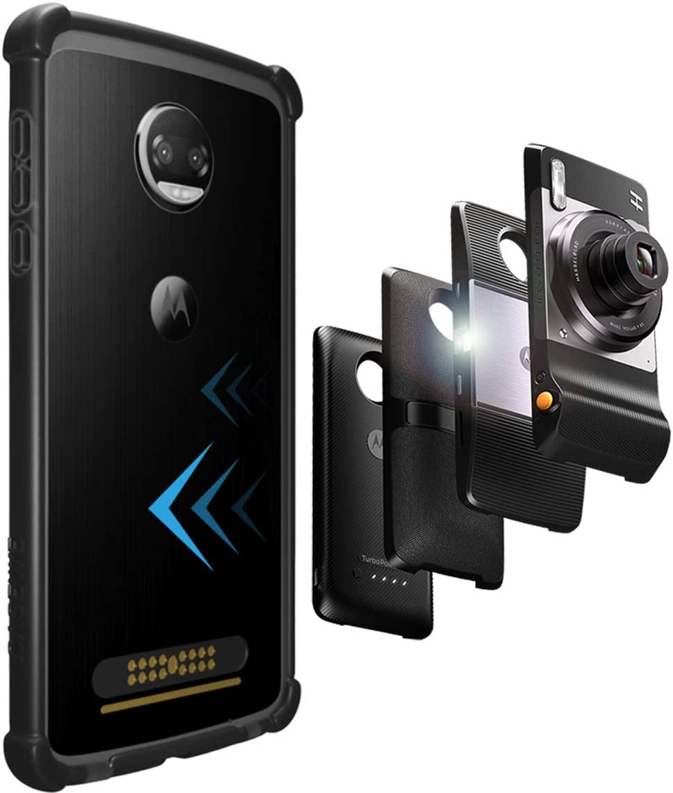 CaseWe - Motorola Moto Z2 Force Protective Bumper Case Cover/Compatible With Moto Mods - All Matte Black