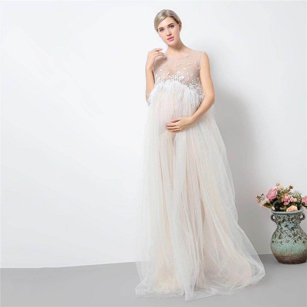 MagiDeal Vestidos Sin Mangas Mujeres Embarazadas Maternidad Fotografía Apperal Baby Shower Cumpleaños - Blanco crema, Única: Amazon.es: Ropa y accesorios