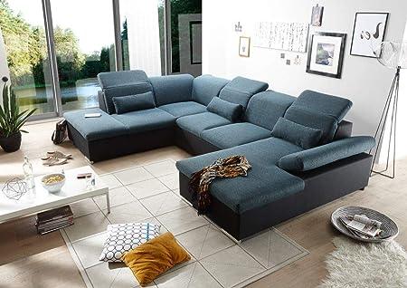 Bruce Wohnlandschaft M Schlaffunktion Couch Sofa Schlafsofa Schwarz
