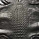 Crocodile Skin Leather Hide Hornback Black 40cm
