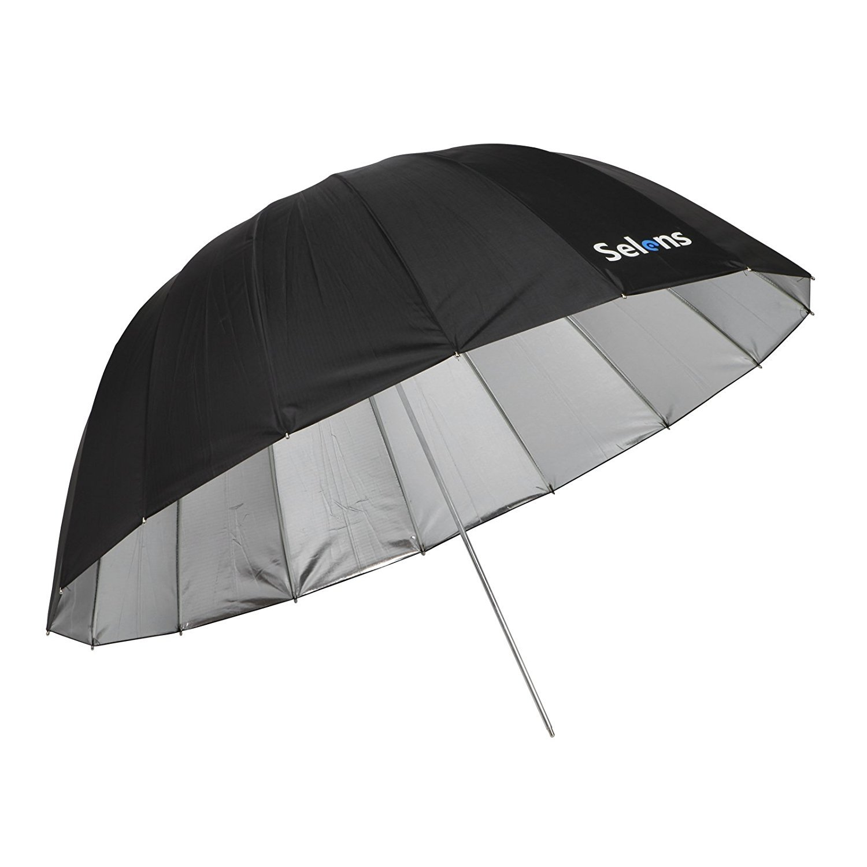 Selens 65 Inch 16 Rods Professional Photography Photo Studio Parabolic Reflective Lighting Umbrella, 23 Inch Depth Black/Silver by Selens (Image #8)