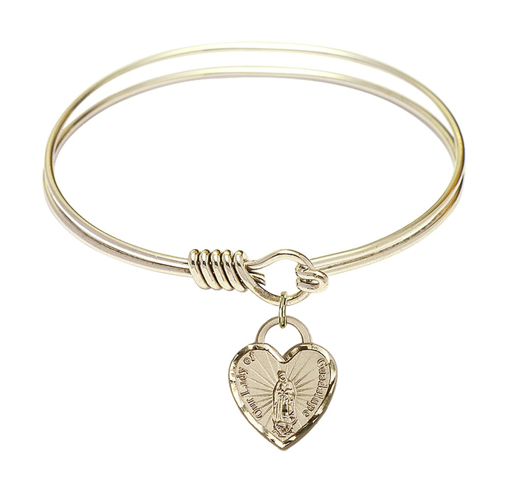 DiamondJewelryNY Eye Hook Bangle Bracelet with a O/L of Guadalupe Heart Charm.