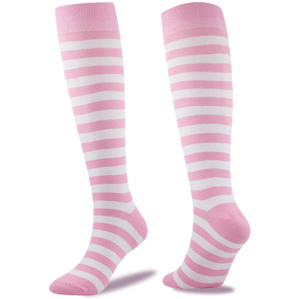 SUTTOS Women's Youth Girls Kids Youth Boys Soccer Socks Wonder Fun Pink White Striped Fashion Soccer Socks Youth Knee High Long Tube Cotton Chearleading Team Socks School Uniform Socks,2 Pairs Pink by SUTTOS