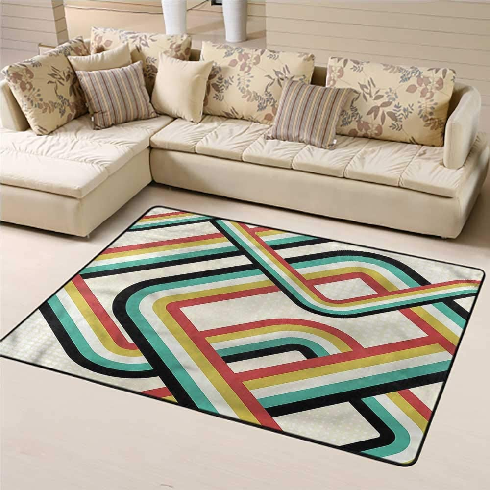 Area Rug Trippy, Artistic Subway Lines Geometric Moroccan Rugs Super Soft and Cozy 3 x 5 Feet