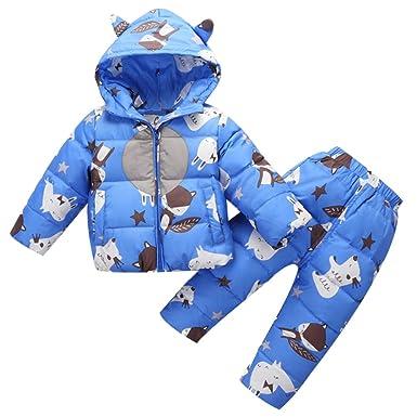 5eb14880a Baby Girl Boy 2 Pcs Snowsuit Toddler Winter Warm Hooded Fur Trim ...