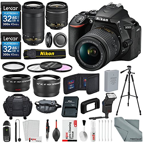 Nikon D5600 DSLR Camera with NIKKOR 18-55mm + 70-300mm Lenses W/ 2x 32GB Memory Card + Digital Slave Flash + Filters, Telephoto & Wideangle Lens, Xpix Lens Accessories with Deluxe Bundle by Photo Savings