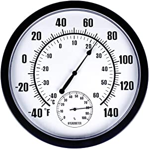 """MUMTOP Thermometer Indoor Outdoor 10"""" Patio Large Wall Thermometer and Hygrometer,No Battery is Required to Let You to See The Temperature and Humidity of The Day from a Distance"""