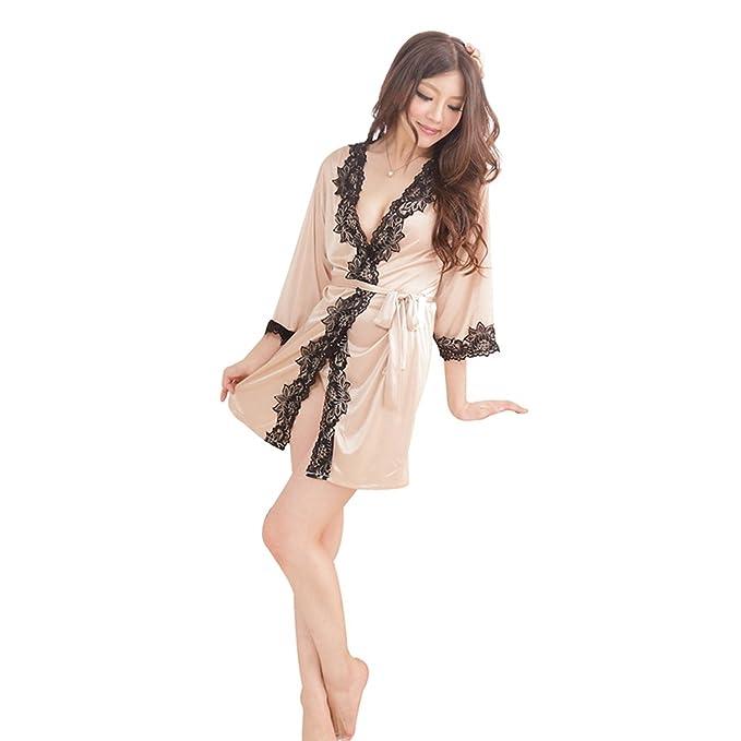 MEISHINE® Mujer Ropa de Dormir Satén Mujer Pijama Bata Camisón Vestido Kimono con Cinturón +