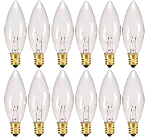 Creative Hobbies® Replacement Light Bulbs for Electric Candle Lamps, Window Candles, Chandeliers - 7 Watt Candelabra, Clear, Steady Burning, 120v 7w bulb - Pack of 12