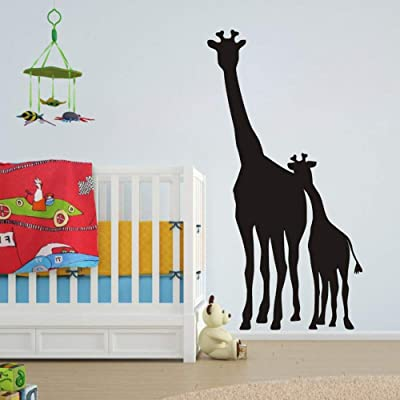 FlyWallD Roll Over Image to Zoom in Large African Safari Giraffe Wall Decal Removable Vinyl Art Zoo Kids Room Animal Living Room Sticker Nursery Mom and Baby Giraffe Decor: Home & Kitchen [5Bkhe1207305]