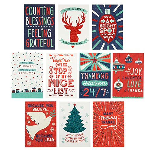 - Hallmark Christmas Thank You Cards Assortment (10 Appreciation Cards with Envelopes for Teachers, Employees, Coworkers, Mail Carrier, Service Providers)