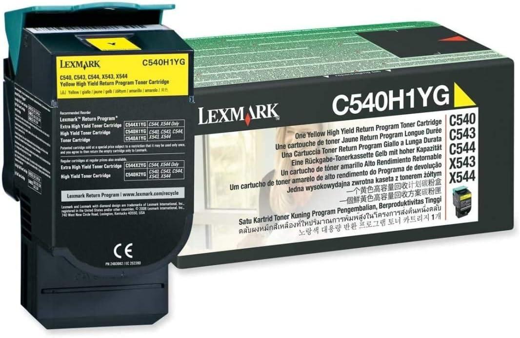 in Retail Packaging Yellow Lexmark C540H1YG C540 C543 C544 X543 X544 Toner Cartridge