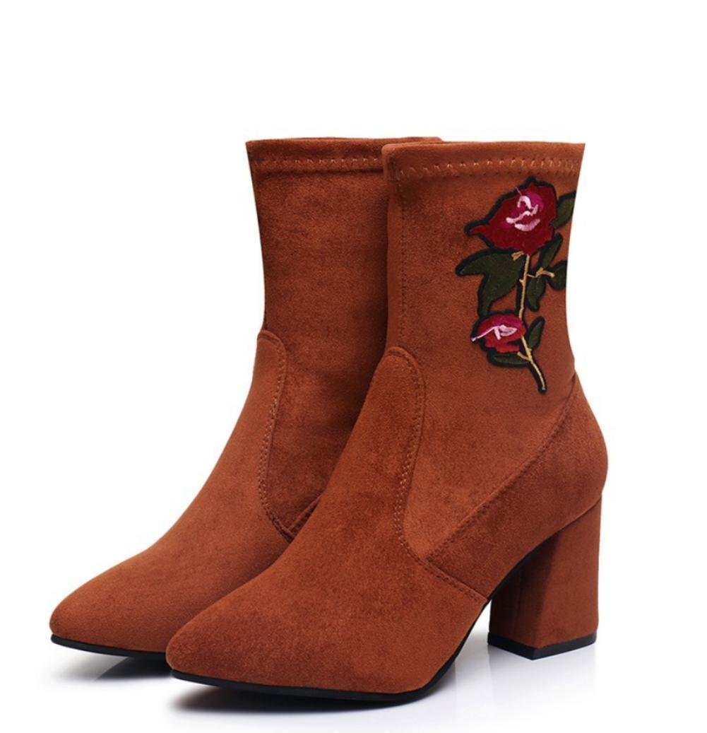 Best Damenschuhe 4U® Damenschuhe Best Wildleder Stickerei Blume Winter Herbst Stiefel Stiefel Chunky Heel Spitz Toe Booties Gummistiefel Schwarz Camel 0d269d