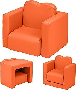 Multifunctional 2 in1 Kids Sofa, Environmental Friendly PVC Toddler Children's Armchair Sofa Living Room Bedroom Furniture Lightweight Padded Table & Chair Set for Girls & Boys (Orange)