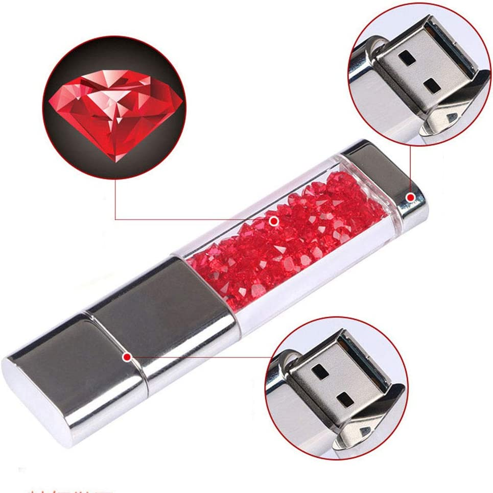 Perfect Choice for A Gift File Sharing Lee Lam Flash Drive 128G USB 2.0 Memory Stick Crystal Bulk Thumb Drive Pen for Data Storage ,Red,8GB