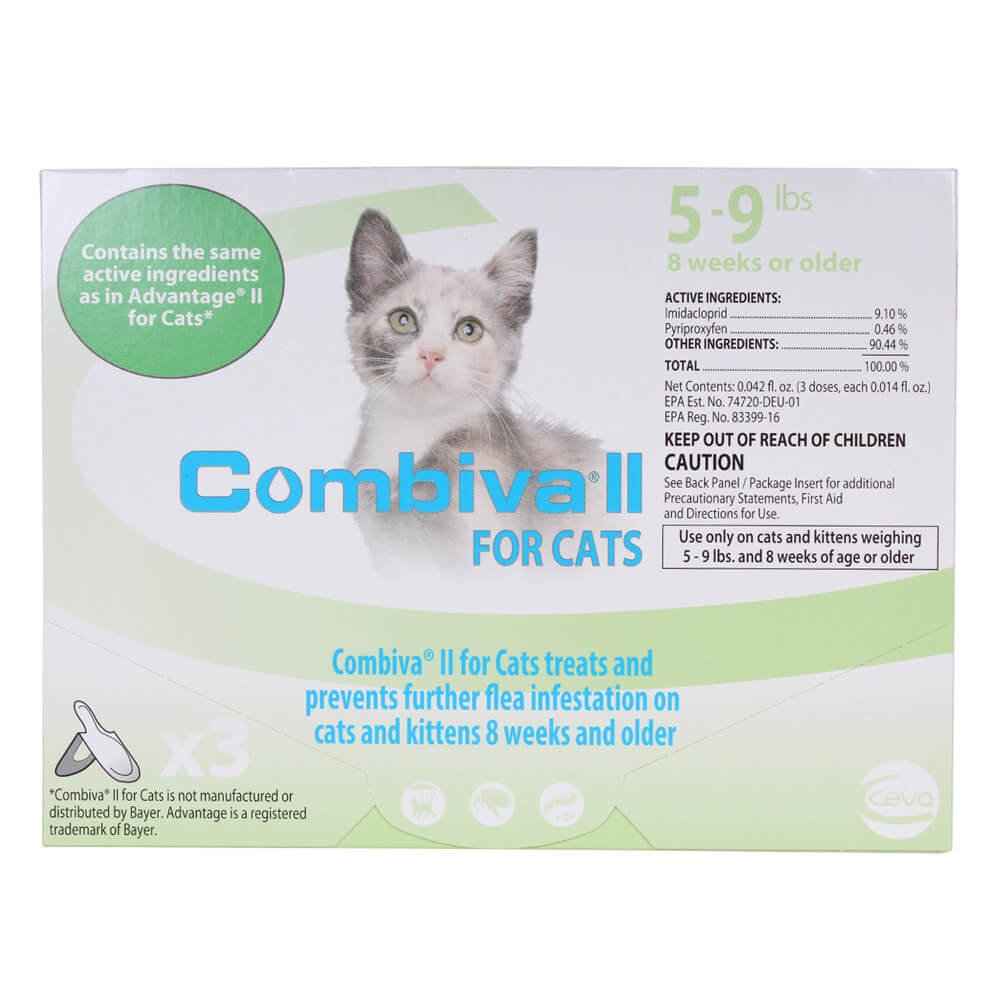 CEVA Animal Health D96110B Combiva II for Small Cats 5-9 lbs. (3 Pack) Pet Flea Drops