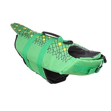 Yunt Perros flotador verde de pescado diseño de salvavidas Pet Life Jacket: Amazon.es: Productos para mascotas