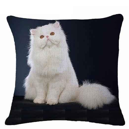 display08 Lovely diseño de gatos funda de almohada cojín manta para casa sofá decoración, Lino, 6#, 17.72