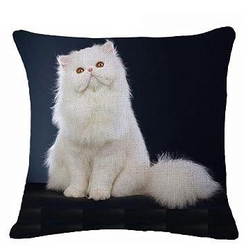 display08 Lovely diseño de gatos funda de almohada cojín manta para casa sofá decoración, Lino