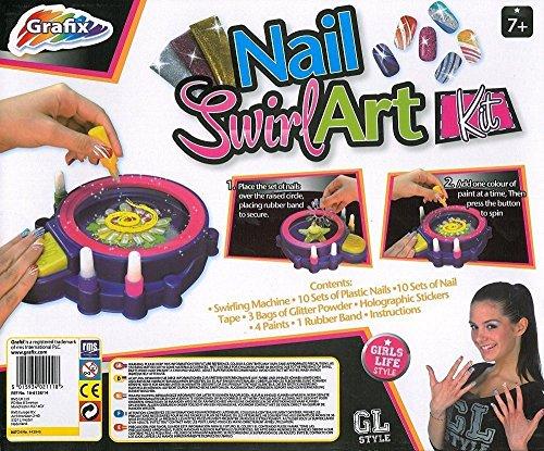 Grafix Girls Nail Art Kit Swirl Machine 4 Paints 3 Glitters