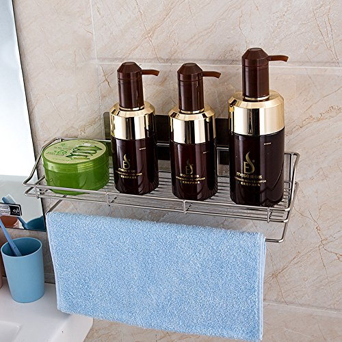 HEBE Bathroom Organizer Shelf with Towel Bar Rustproof Self