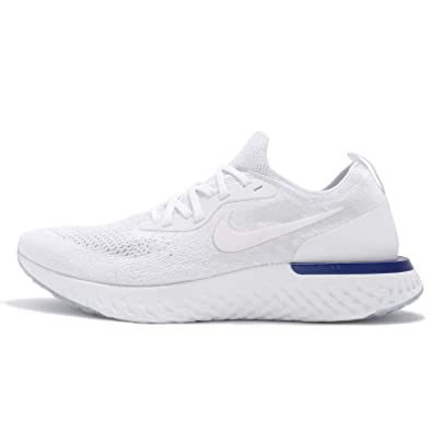1efc275a000c Image Unavailable. Image not available for. Color  Nike Men s Epic React  Flyknit Running Shoes White White Racer Blue AQ0067 100 (