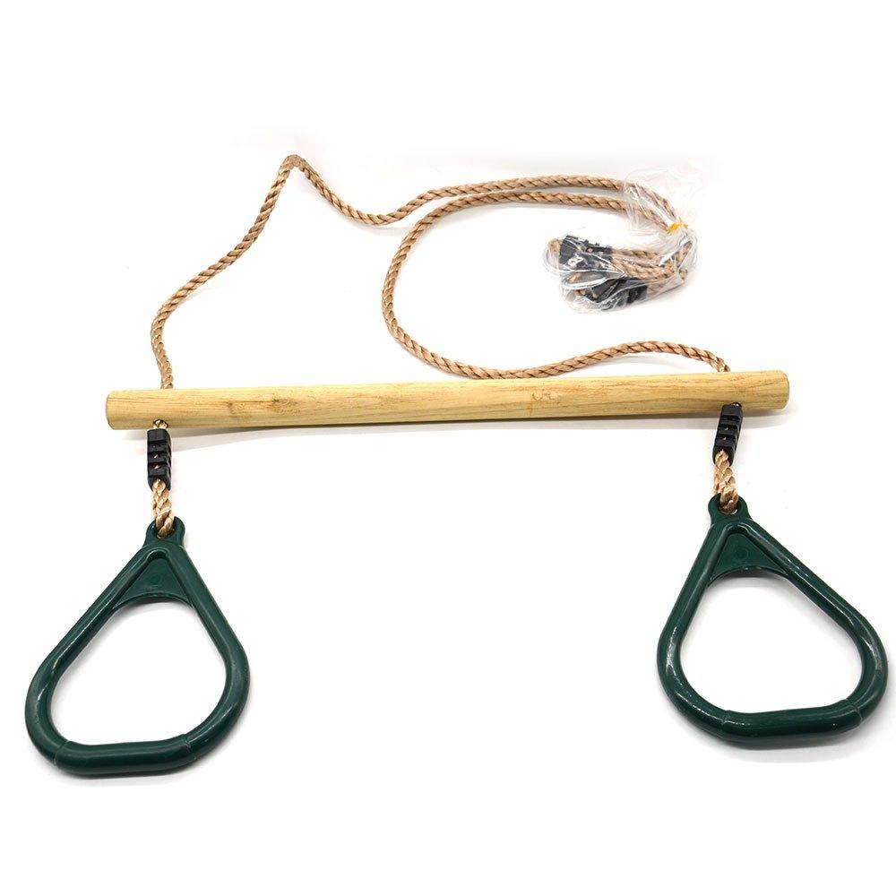 Verde Eggdel Legno Trapeze con anelli regolabili multi-uso di plastica per bambino