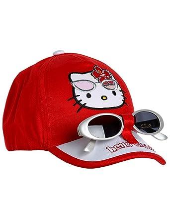 e291807d693331 Hello kitty Casquette et Lunettes de Soleil Enfant Fille 3 Coloris de 3 à  9ans - Rouge, 54 cm (6-8 Ans)  Amazon.fr  Vêtements et accessoires