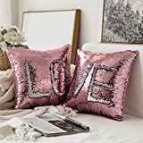MIULEE Pack of 2, Sequin Pillow Case Reversible Cushion Cover Change Color Cotton Linen Couch Mermaid Throw Pillow Cover for Decoration 16x16 Inches 40x40 cm