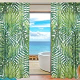 Cheap WOZO Watercolor Palm Leaf Window Sheer Curtain Panels 55″x 84″, 2-Piece Tropical Palm Tree Modern Window Treatment Panel for Children Kids Home Living Dining Room Decoration