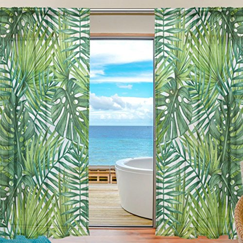 WOZO Watercolor Palm Leaf Window Sheer Curtain Panels 55