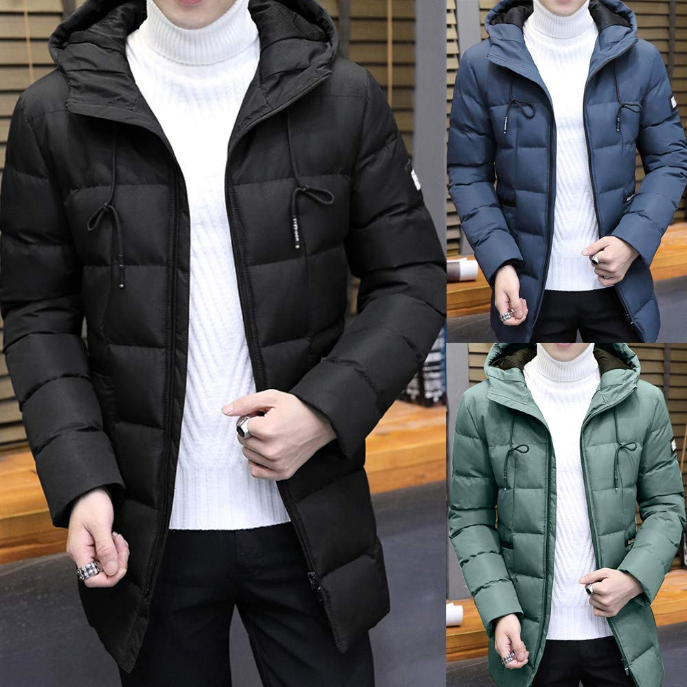 ErYao Mens Fashion Winter Medium Length Hoodie Thickened Cotton Padded Jacket Coat at Amazon Mens Clothing store:
