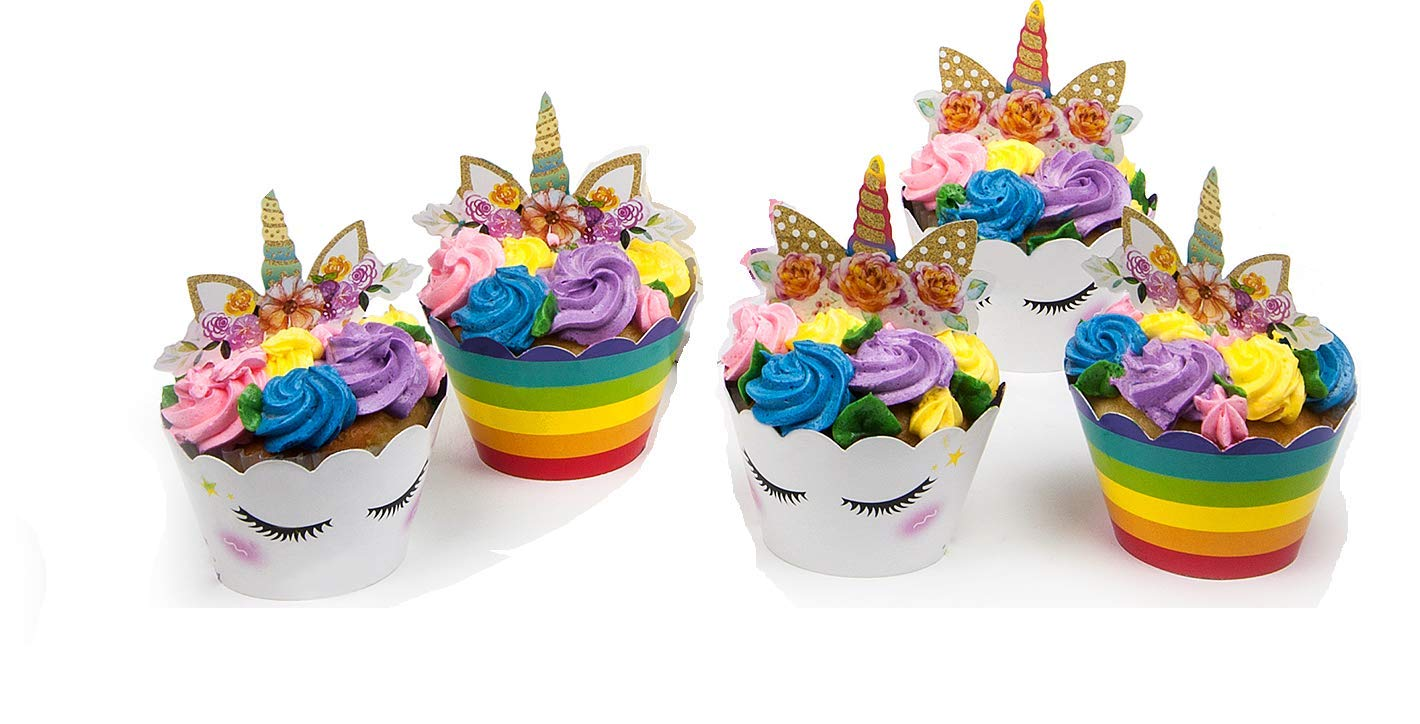 KITCHEN PRO 2018 Gold Unicorn Birthday Party Cupcake Muffin Toppers Set Horn Ears Flowers Decoration For Baby Shower