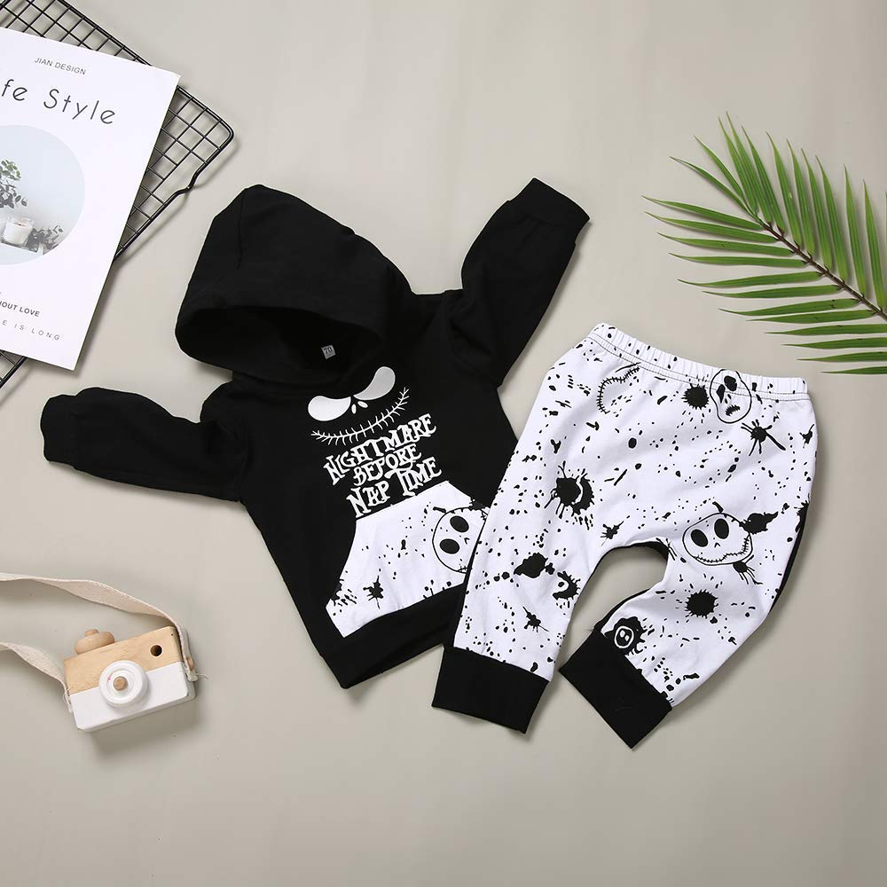 FUTERLY 2PCs Christmas Outfit Set Toddler Infant Baby Boys Tracksuit Clothes Nightmare Long Sleeve Hoodie Tops Sweatsuit and Skull Xmas Pants Little Kids
