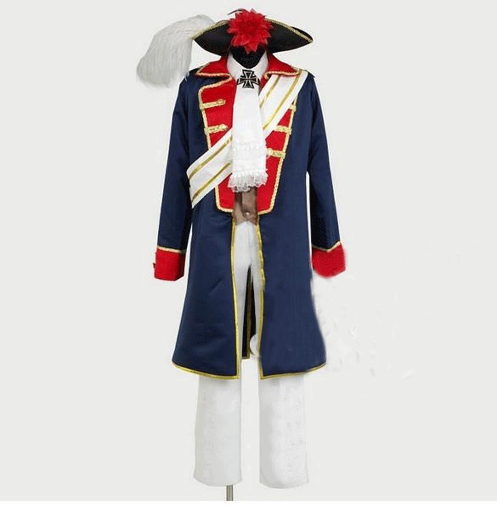 Camplayco APH Axis Powers Hetalia Prussia 7 Years War Uniform Cosplay Costume-made